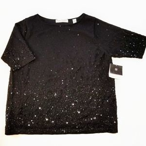 Valerie Stevens II Black Sequined Holiday Top NWT